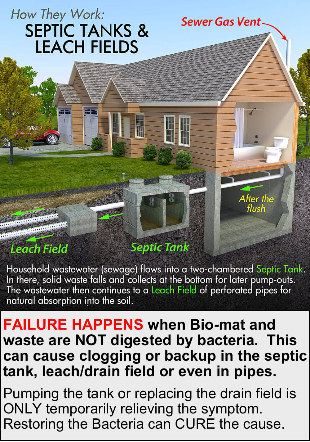 how septic systems work and how they fail and recover